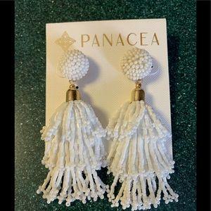 Beaded Tassel Earrings in White by Panacea